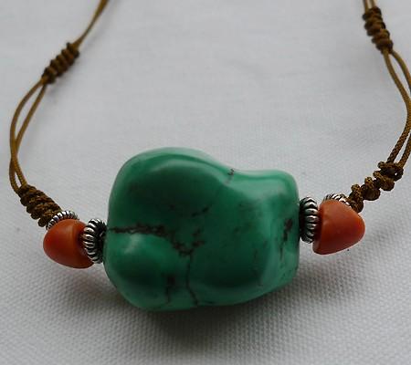 チベットトルコ石チョーカータイプ001-5