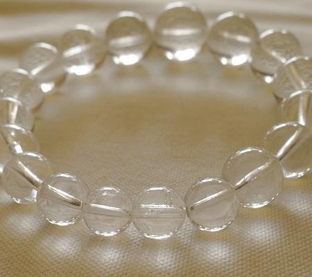 ヒマラヤ水晶ブレスレット透明丸玉115-11