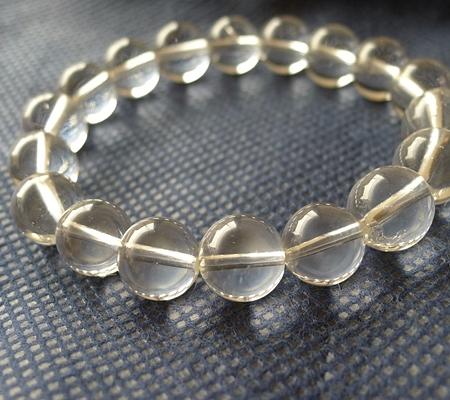 ヒマラヤ水晶ブレスレット透明丸玉124-3