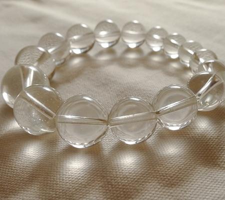 ヒマラヤ水晶ブレスレット透明丸玉132-8