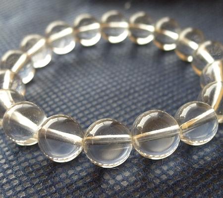 ヒマラヤ水晶ブレスレット透明丸玉135-4