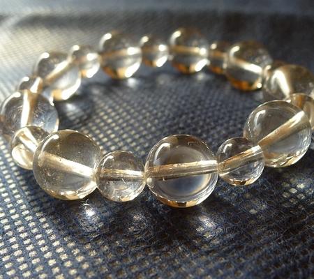 ヒマラヤ水晶ブレスレット透明丸玉144-2