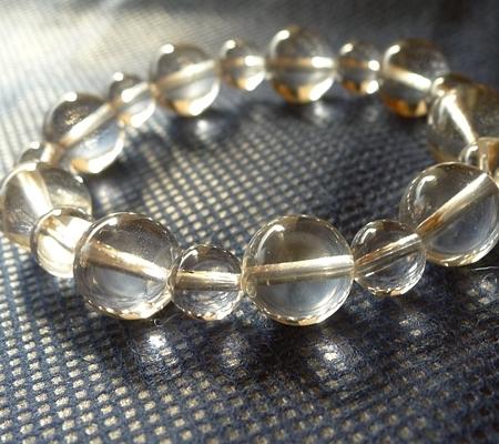ヒマラヤ水晶ブレスレット透明丸玉144-3