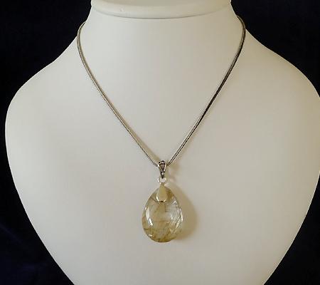 ヒマラヤ水晶ペンダント針金形状内包物入り052-9