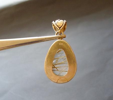 ヒマラヤ水晶ペンダント針金形状内包物入り076-3