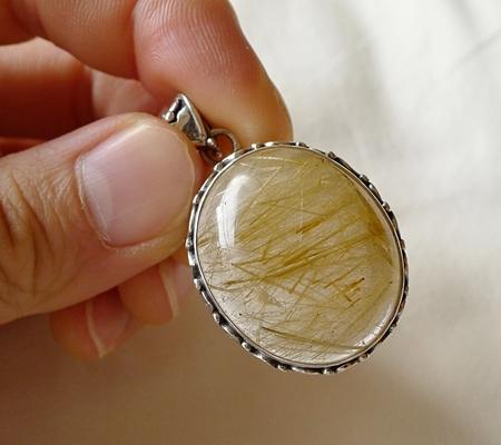 ヒマラヤ水晶ペンダント針金形状内包物入り082-8