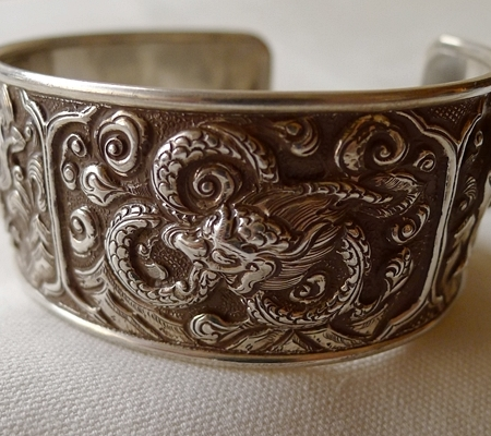 純銀シルバーブレスレット仏教デザイン015-4